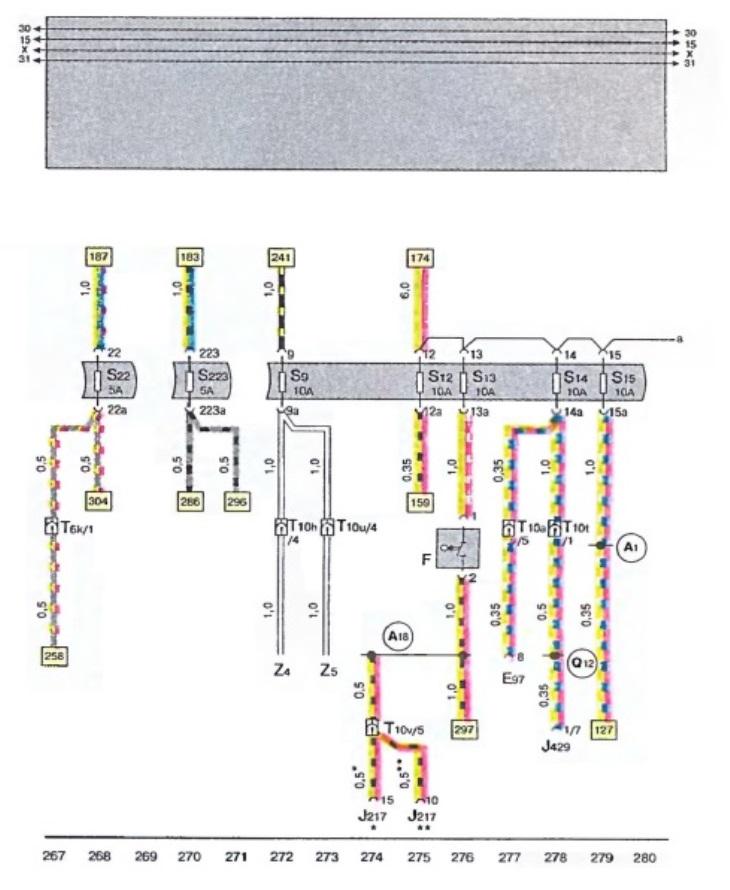 Схема стоп сигнала ауди